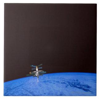 Tierra que está en órbita 8 de la estación espacia teja