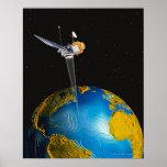 Tierra que está en órbita por satélite 6 póster