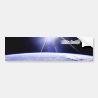 Tierra según lo visto de la estación espacial etiqueta de parachoque