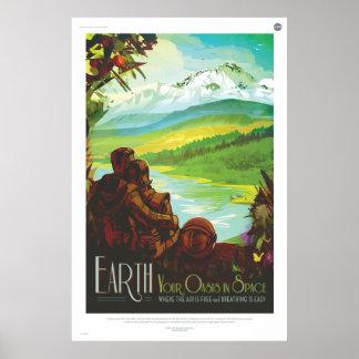Tierra, su oasis en espacio póster
