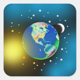 Tierra, Sun y pegatinas de la luna Pegatina Cuadrada