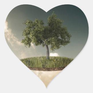 Tierra suspendida pegatina en forma de corazón
