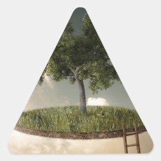Tierra suspendida pegatina triangular