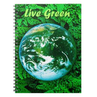 Tierra verde - conciencia ecológica libros de apuntes con espiral