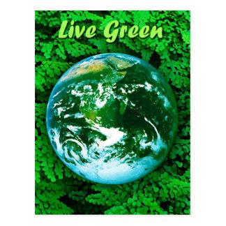 Tierra verde - conciencia ecológica postal