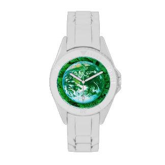 Tierra verde - conciencia ecológica relojes de mano
