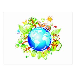 Tierra verde Eco amistoso para el Día de la Tierra Postales