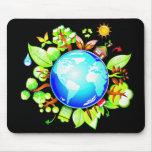 Tierra verde Eco amistoso para el Día de la Tierra Alfombrillas De Raton
