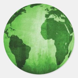 Tierra verde pegatina redonda
