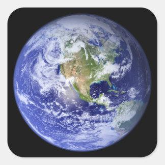 Tierra visible: El mármol azul Pegatina Cuadrada