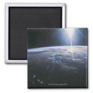 Tierra vista de espacio imán cuadrado