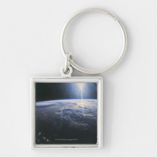 Tierra vista de espacio llavero