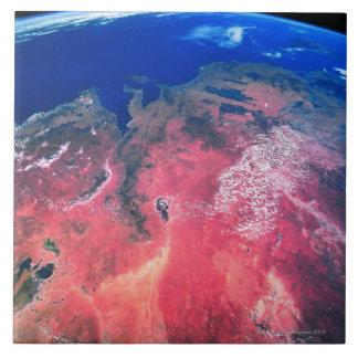 Tierra vista del espacio 2 azulejos