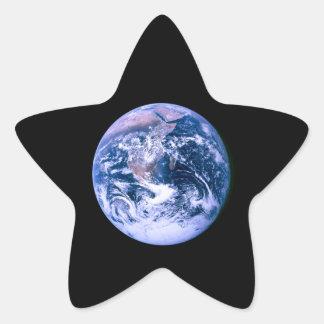 Tierra vista del espacio 'Marble azul Calcomanía Forma De Estrellae