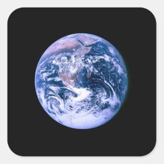 Tierra vista del espacio 'Marble azul Pegatina Cuadrada