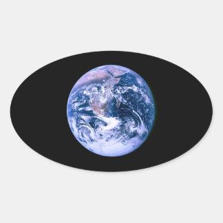 Tierra vista del espacio 'Marble azul Pegatina Ovalada