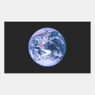 Tierra vista del espacio 'Marble azul Pegatina Rectangular