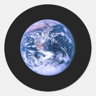 Tierra vista del espacio 'Marble azul Pegatina Redonda