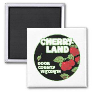 Tierra Wisconsin de la cereza del vintage Imán De Nevera