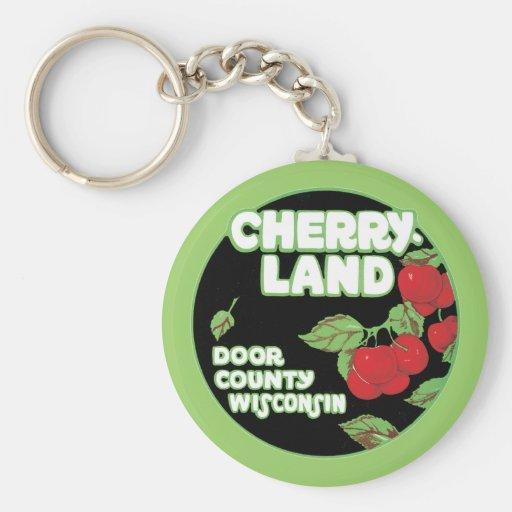 Tierra Wisconsin de la cereza del vintage Llavero Redondo Tipo Pin