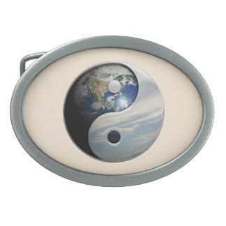 Tierra y cielo Yin Yang Hebillas Cinturon Ovales