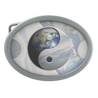 Tierra y cielo Yin Yang Hebilla Cinturon Oval