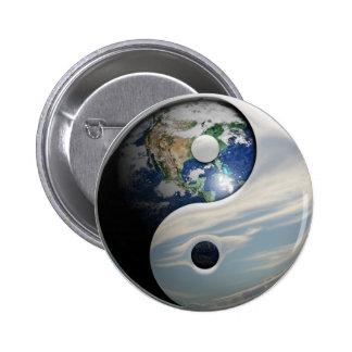 Tierra y cielo Yin Yang Pin Redondo De 2 Pulgadas