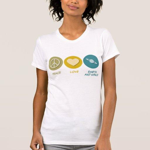 Tierra y ciencias espaciales del amor de la paz camiseta