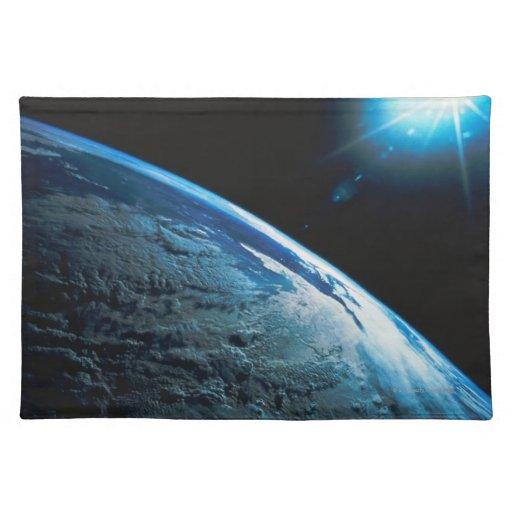 Tierra y estrella del planeta del espacio mantel