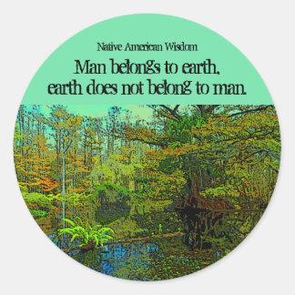 tierra y hombre pegatina redonda