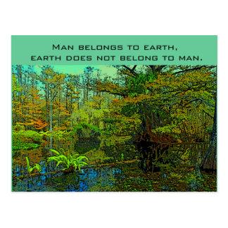 tierra y hombre tarjeta postal