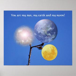 Tierra y luna de Sun Poster