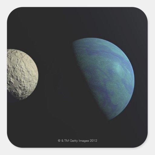 Tierra y luna pegatina cuadrada