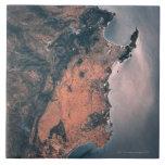 Tierra y mar del espacio 3 azulejo cuadrado grande