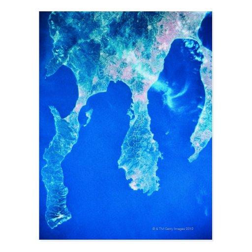 Tierra y mar del espacio postales