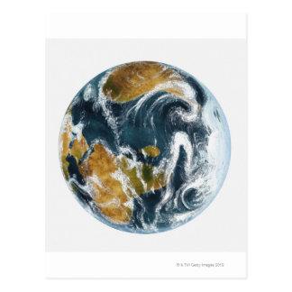 Tierra y nubes del planeta vistas de espacio postal