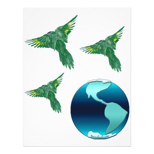 Tierra y pájaros del planeta membrete