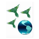 Tierra y pájaros del planeta postal