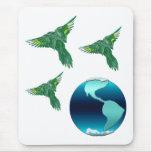 Tierra y pájaros del planeta alfombrillas de ratones