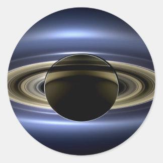 Tierra y Saturn Etiquetas Redondas