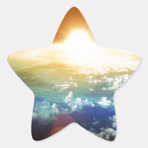 tierra y sol pegatina en forma de estrella