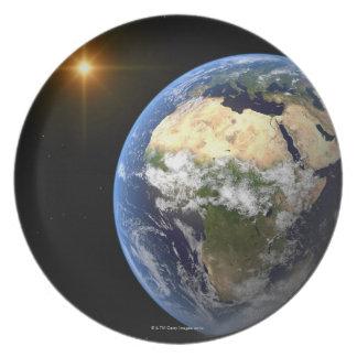 Tierra y una estrella brillante 2 plato