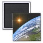 Tierra y una estrella brillante 3 imán cuadrado