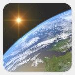 Tierra y una estrella brillante 3 pegatina cuadrada