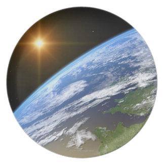 Tierra y una estrella brillante 3 plato de cena