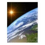 Tierra y una estrella brillante 3 postal