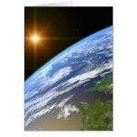 Tierra y una estrella brillante 3 tarjeta de felicitación
