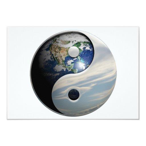 """Tierra Yin y símbolo de Yang Invitación 3.5"""" X 5"""""""