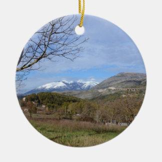 Tierras de labrantío en invierno en Calabria Ornamento De Navidad