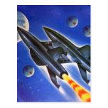 Tierras retras de Sci Fi del vintage tres nave esp Postales